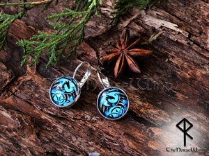 Celtic Dragon Earrings, Viking Ear Studs, Blue Earrings Celtic Knot Viking Jewelry Silver Celtic Jewelry Norse Mythology TheNorseWind