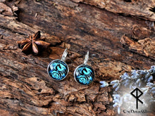 Load image into Gallery viewer, Dragon Earrings, Viking Ear Studs, Blue Earrings Celtic Knot Viking Jewelry Silver Celtic Jewelry Norse Mythology TheNorseWind