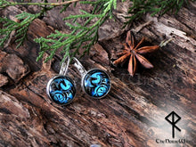 Load image into Gallery viewer, dragon earrings celtic knot glass viking jewelry