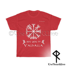 Load image into Gallery viewer, Vegvisir Viking Compass T-Shirt - See You In Valhalla Tee Unisex S-5XL - TheNorseWind