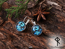Load image into Gallery viewer, Handcrafted Dragon Earrings, Viking Ear Studs, Blue Earrings Celtic Knot Viking Jewelry Silver Celtic Jewelry Norse Mythology TheNorseWind