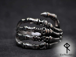 Gothic Skull Ring Skeleton Hand Stainless Steel - TheNorseWind