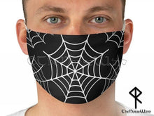 Load image into Gallery viewer, Spider Web Face Mask Halloween Goth Face Cover, Black Unisex Mask