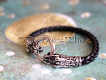 Load image into Gallery viewer, Viking Bracelet, Norse Dragon Leather Wristband TheNorseWind