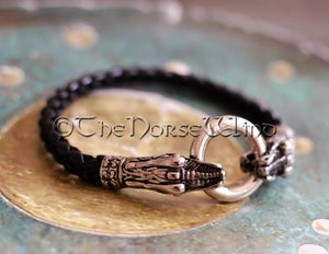 Viking Bracelet, Norse Dragon Leather Wristband TheNorseWind