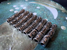 Load image into Gallery viewer, Viking Beard Beads Futhark Runes - Silver 6mm Hole TheNorseWind