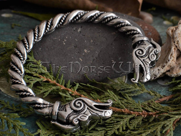 Viking Bracelet Nidhogg Dragon Head Arm Ring TheNorseWind