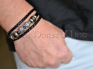 Viking Leather Bracelet - Fenrir Wolf TheNorseWind