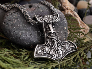 Thor's Hammer Viking Necklace, Mjolnir Pendant with Odin Ravens TheNorseWind