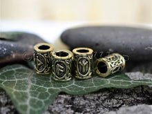 Load image into Gallery viewer, Viking Runes Beads Set 24 Futhark Bead Rings, Antique Gold / Bronze TheNorseWind