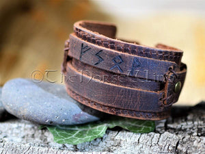 Personalized Viking Leather Bracelet, Name in Runes Norse Wristband - Brown/Black TheNorseWind