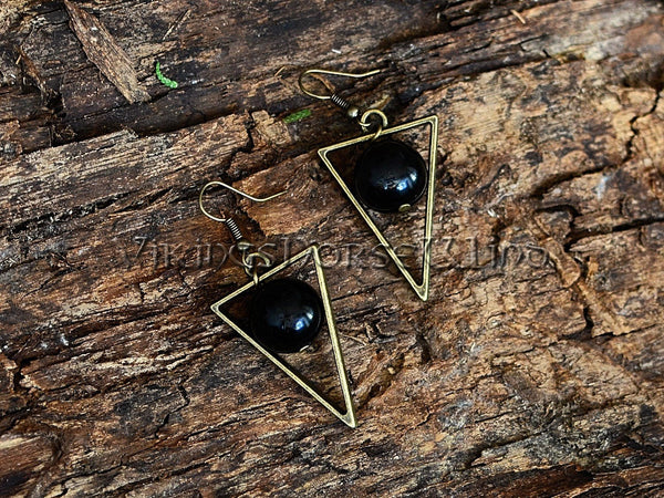Black Obsidian Triangle Earrings, Bronze Pagan Jewelry TheNorseWind