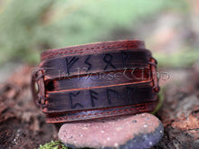 Load image into Gallery viewer, Personalized Viking Leather Bracelet, Name in Runes Norse Wristband - Brown/Black TheNorseWind