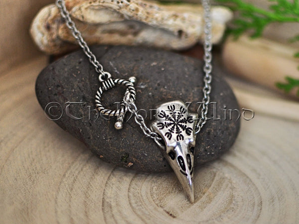 Raven Skull Necklace, Aegishjalmur Silver Pendant TheNorseWind