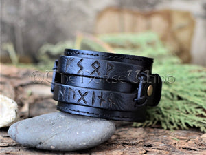 Viking Leather Bracelet, Name in Runes Norse Wristband - Brown/Black TheNorseWind