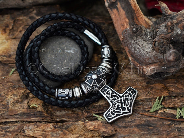 Mjolnir Pendant Thor's Hammer Viking Necklace with Celtic Cross, Stainless Steel Viking Jewelry, Strength Amulet Norse Mythology Asatru TheNorseWind
