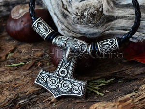 Thor's Hammer Necklace, Mjolnir Runes Viking Necklace, Scania Raven Head Skane Norse Necklace Mjölnir Pendant Viking Jewelry Norse Mythology TheNorseWind