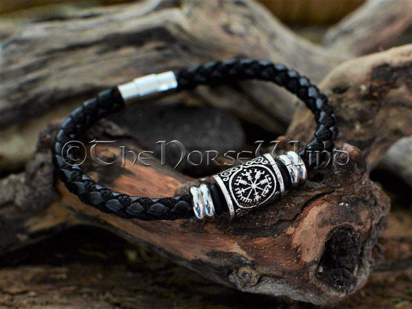 Vegvisir Viking Compass Bracelet, Leather Wristband TheNorseWind
