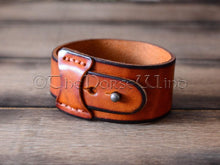 Load image into Gallery viewer, Personalized Viking Bracelet, Name in Runes Leather Cuff, Whiskey/English Tan TheNorseWind
