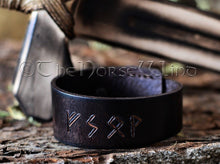 Load image into Gallery viewer, Custom Leather Wristband NAME in RUNES, Viking Bracelet, Coffee Brown TheNorseWind