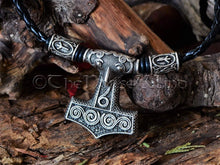 Load image into Gallery viewer, Thor's Hammer Necklace, Mjolnir Runes Viking Necklace, Scania Raven Head Skane Norse Necklace Mjölnir Pendant Viking Jewelry Norse Mythology TheNorseWind
