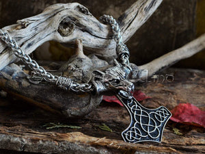Steel Thor's Hammer Necklace, Large Fenrir Wolf Head Mjolnir Necklace, Thor Hammer Pendant, Viking Amulet, Norse Mythology, Asatru TheNorseWind