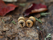 Load image into Gallery viewer, Viking Runes Earrings, Wooden Ear Plugs 10mm, Norse Rune Earplugs/Gauges TheNorseWind