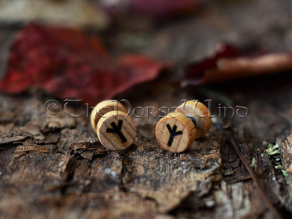 Viking Runes Earrings, Wooden Ear Plugs 10mm, Norse Rune Earplugs/Gauges TheNorseWind