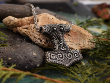 Load image into Gallery viewer, Thor's Hammer Necklace, Viking Raven Head Mjolnir Silver Pendant TheNorseWind