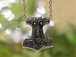 Thor's Hammer Necklace, Viking Raven Head Mjolnir Silver Pendant TheNorseWind