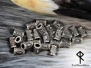 Viking Runes Beads Set 24 Futhark Bead Rings, Silver TheNorseWind