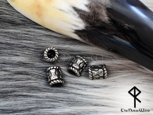 Thor's Hammer Viking Beard Beads, Mjolnir Steel Hair Rings TheNorseWind