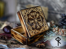Load image into Gallery viewer, Viking Compass Vegvisir Box, Carved Wooden Chest TheNorseWind