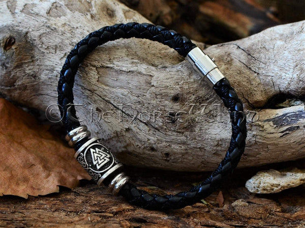 Valknut Leather Bracelet, Viking Runes Odin Wristband TheNorseWind
