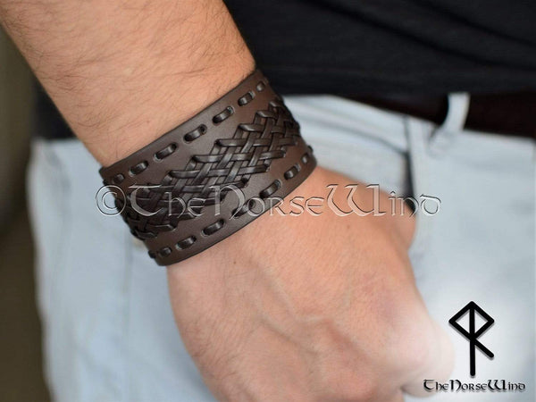 Brown Leather Bracelet, Viking Gothic Braided Leather Wristband TheNorseWind