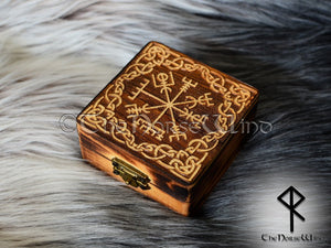 Viking Compass Vegvisir Box, Carved Wooden Chest TheNorseWind