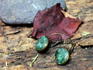 Green Aventurine Earrings, Luck Crystal Tribal Earrings, Green Stud Earrings, Medieval Earrings, Antique Bronze Earrings, Pagan Jewelry TheNorseWind