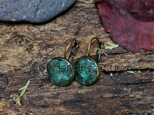 Load image into Gallery viewer, Green Aventurine Earrings, Luck Crystal Tribal Earrings, Green Stud Earrings, Medieval Earrings, Antique Bronze Earrings, Pagan Jewelry TheNorseWind