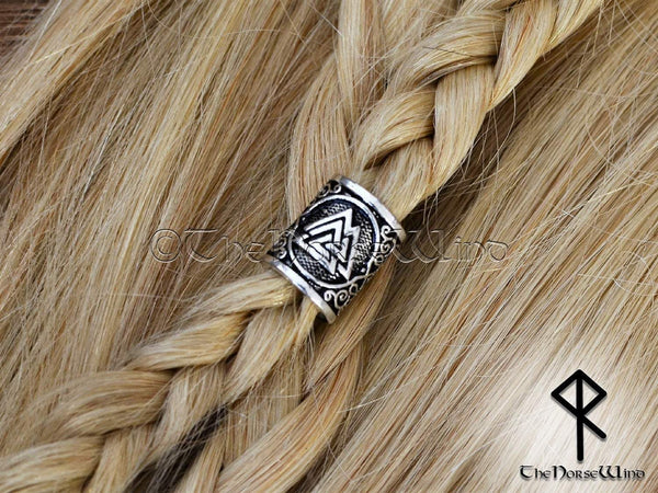 Valknut Beard Bead, Silver Viking Hair Ring TheNorseWind