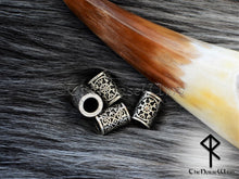 Load image into Gallery viewer, Helm of Awe Viking Beard Beads, Aegishjalmur Hair Beads Celtic Beard Rings TheNorseWind