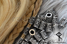 Load image into Gallery viewer, Viking Runes Beads Set 24 Futhark Bead Rings, Silver TheNorseWind