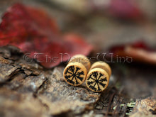 Load image into Gallery viewer, Vegvisir Earrings, Viking Compass Runes Gauges 10mm TheNorseWind