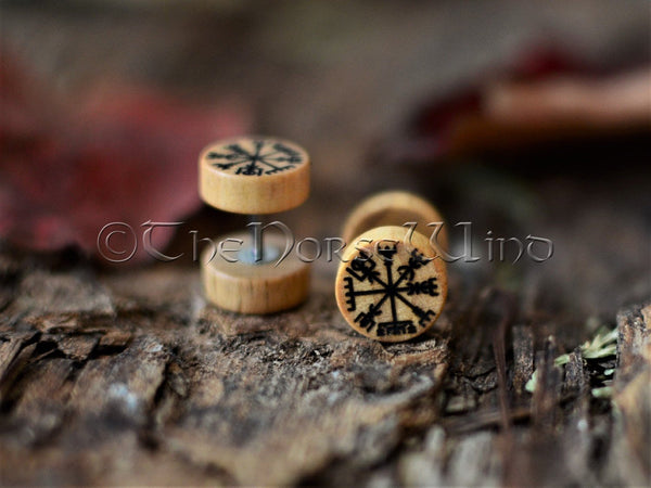 Vegvisir Earrings, Viking Compass Runes Gauges 10mm TheNorseWind