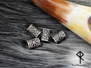Vegvisir Beard Beads, Viking Compass Hair Rings TheNorseWind