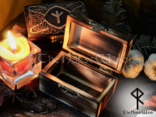 Load image into Gallery viewer, Viking Ravens Rune Box, Carved Wooden Chest Rune in Your Choice TheNorseWind