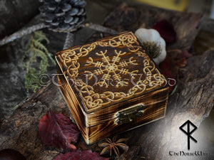 Viking Wooden Box Aegishjalmur - Helm of Awe TheNorseWind