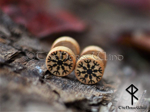 Helm of Awe Earrings, Fake Plug Aegishjalmur Viking Runes Gauges Wooden Earplugs 10mm Viking Tunnels Earrings Viking Jewelry Norse Mythology TheNorseWind