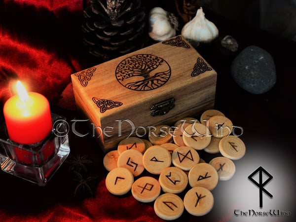 Viking Rune Set with Yggdrasil Altar Box, Elder Futhark Runes Tree of Life TheNorseWind