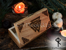 Load image into Gallery viewer, Viking Rune Set + Valknut Altar Box TheNorseWind