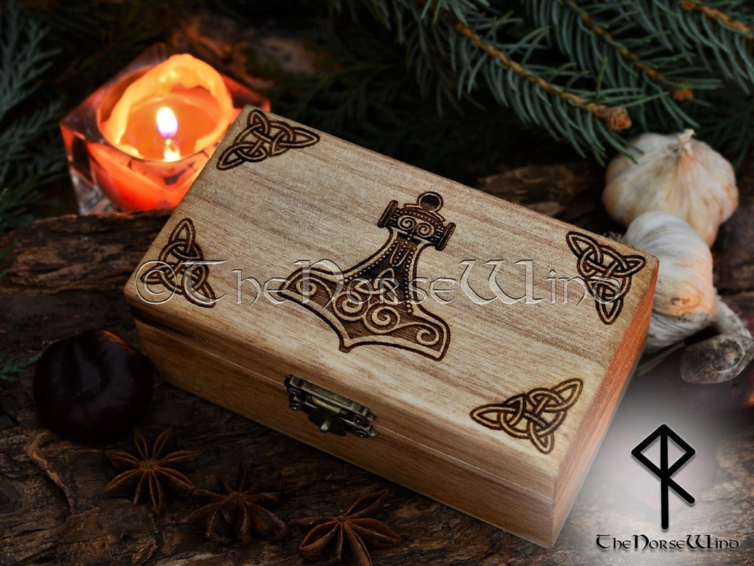 Thor's Hammer Mjolnir Box, Tarot Box, Norse Runes Box Viking Decor, Norse Mythology, Wicca Keepsake Box, Jewelry Box, Wiccan Altar, Pagan TheNorseWind